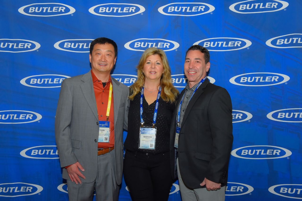 Chapple Design-Build Owners (Peter & Marsha Fazio) pictured with Butler Regional Manager Yixin Mu at Butler Builders Meeting 2020 in Austin, TX